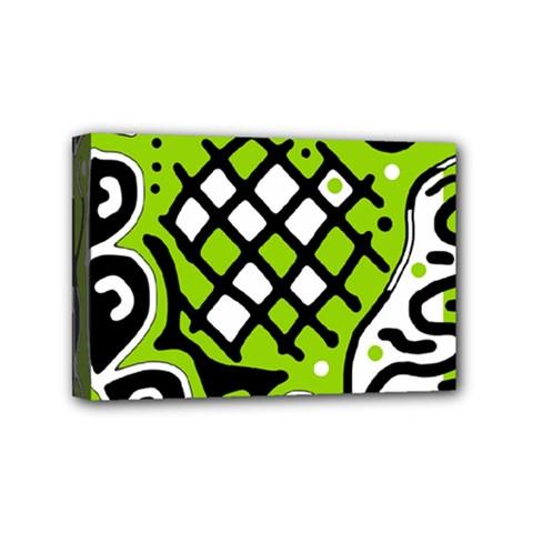 Green high art abstraction Mini Canvas 6  x 4