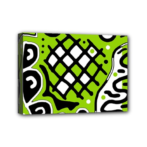 Green high art abstraction Mini Canvas 7  x 5