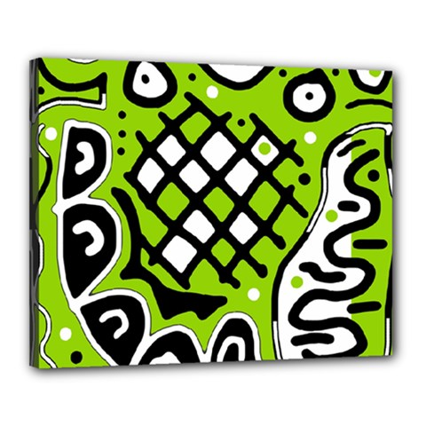Green high art abstraction Canvas 20  x 16