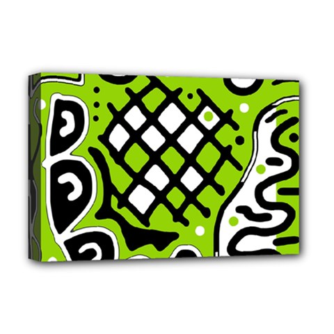 Green high art abstraction Deluxe Canvas 18  x 12