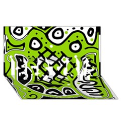 Green high art abstraction BEST SIS 3D Greeting Card (8x4)