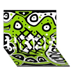 Green high art abstraction HOPE 3D Greeting Card (7x5)