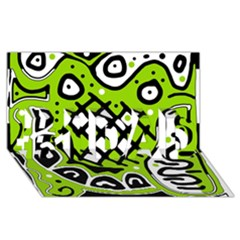 Green high art abstraction #1 DAD 3D Greeting Card (8x4)