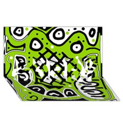 Green high art abstraction SORRY 3D Greeting Card (8x4)