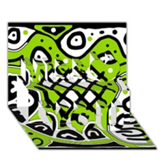 Green high art abstraction Miss You 3D Greeting Card (7x5)