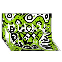 Green high art abstraction Merry Xmas 3D Greeting Card (8x4)