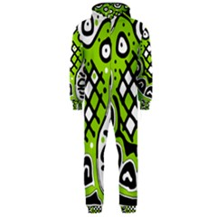 Green high art abstraction Hooded Jumpsuit (Men)