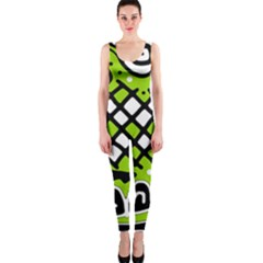 Green high art abstraction OnePiece Catsuit