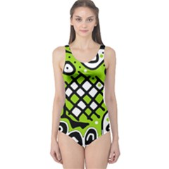 Green high art abstraction One Piece Swimsuit