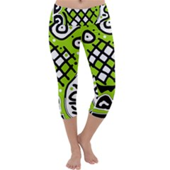 Green high art abstraction Capri Yoga Leggings