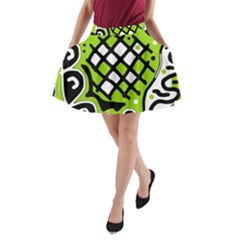 Green high art abstraction A-Line Pocket Skirt