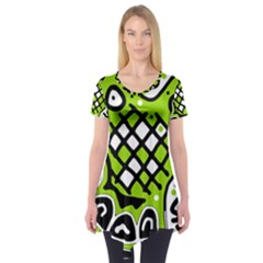 Green high art abstraction Short Sleeve Tunic