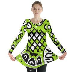 Green High Art Abstraction Long Sleeve Tunic