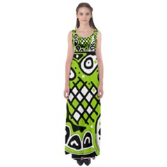 Green high art abstraction Empire Waist Maxi Dress