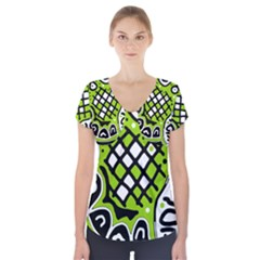 Green high art abstraction Short Sleeve Front Detail Top