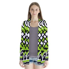 Green high art abstraction Drape Collar Cardigan