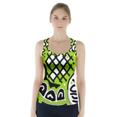 Green high art abstraction Racer Back Sports Top