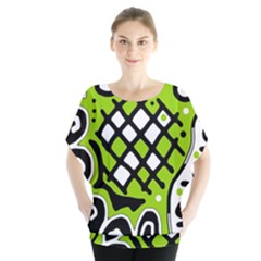 Green high art abstraction Blouse