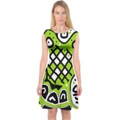 Green high art abstraction Capsleeve Midi Dress