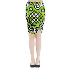 Green high art abstraction Midi Wrap Pencil Skirt