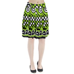 Green high art abstraction Pleated Skirt