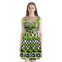 Green High Art Abstraction Split Back Mini Dress