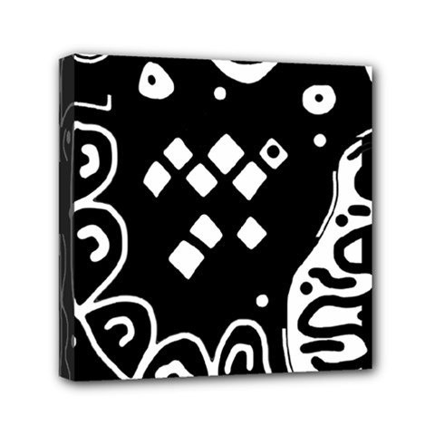 Black and white high art abstraction Mini Canvas 6  x 6