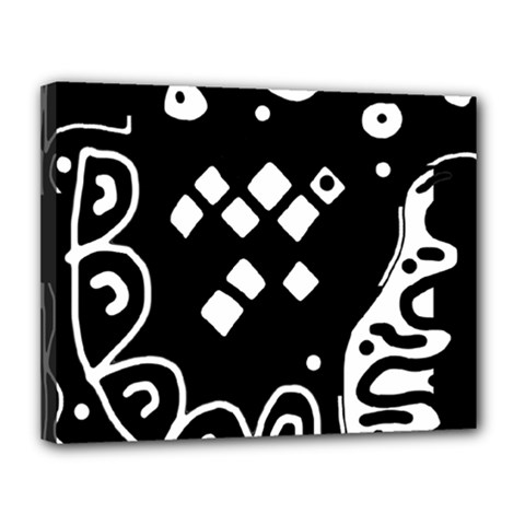 Black and white high art abstraction Canvas 14  x 11