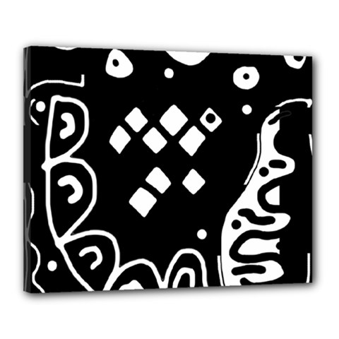 Black and white high art abstraction Canvas 20  x 16