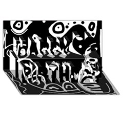 Black and white high art abstraction Happy Birthday 3D Greeting Card (8x4)