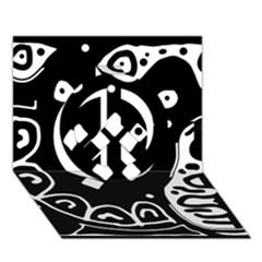 Black and white high art abstraction Peace Sign 3D Greeting Card (7x5)