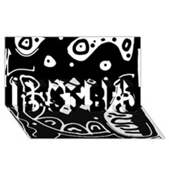 Black and white high art abstraction BEST BRO 3D Greeting Card (8x4)