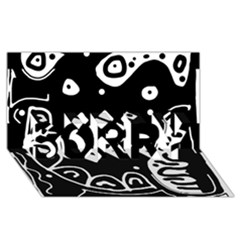 Black and white high art abstraction SORRY 3D Greeting Card (8x4)