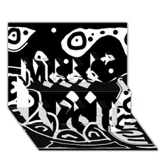 Black and white high art abstraction Miss You 3D Greeting Card (7x5)