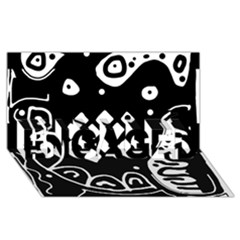 Black and white high art abstraction ENGAGED 3D Greeting Card (8x4)