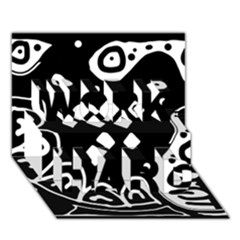 Black and white high art abstraction WORK HARD 3D Greeting Card (7x5)