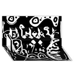 Black and white high art abstraction Merry Xmas 3D Greeting Card (8x4)