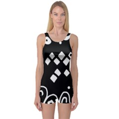 Black and white high art abstraction One Piece Boyleg Swimsuit