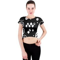 Black and white high art abstraction Crew Neck Crop Top