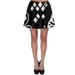Black and white high art abstraction Skater Skirt