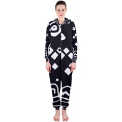 Black and white high art abstraction Hooded Jumpsuit (Ladies)