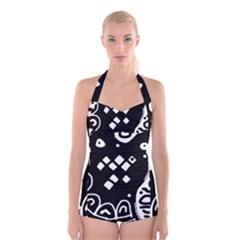 Black And White High Art Abstraction Boyleg Halter Swimsuit