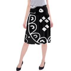 Black and white high art abstraction Midi Beach Skirt