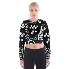 Black and white high art abstraction Women s Cropped Sweatshirt