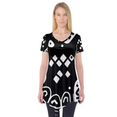 Black And White High Art Abstraction Short Sleeve Tunic