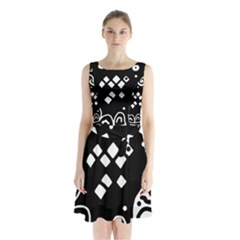 Black and white high art abstraction Sleeveless Waist Tie Dress