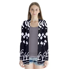 Black and white high art abstraction Drape Collar Cardigan