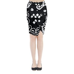 Black and white high art abstraction Midi Wrap Pencil Skirt