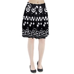 Black And White High Art Abstraction Pleated Skirt