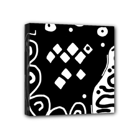 Black and white high art abstraction Mini Canvas 4  x 4